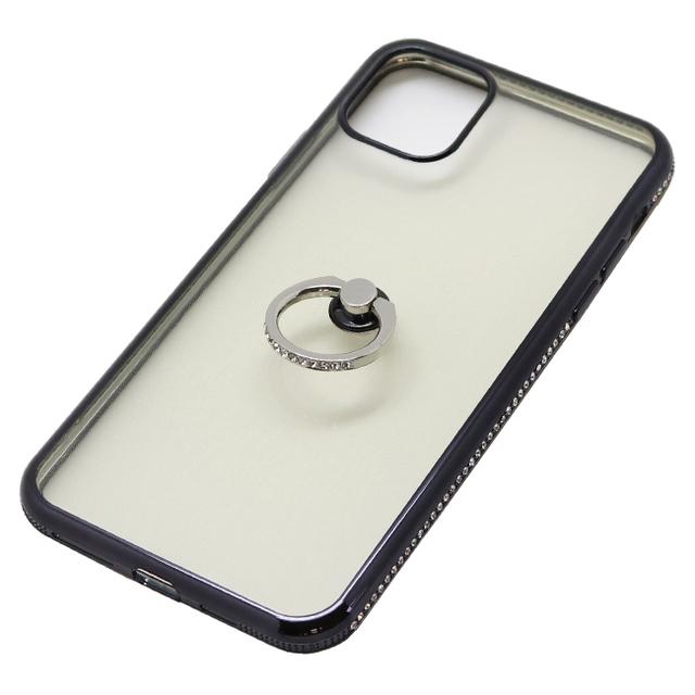 iPhone 11 Pro Max用 6.5インチ ジャケット リング付ケース ラインストーン